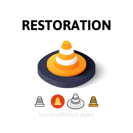 restoration: Restoration icon, vector symbol in flat, outline and isometric style Illustration