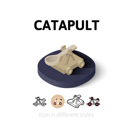 catapult: Catapult icon, vector symbol in flat, outline and isometric style