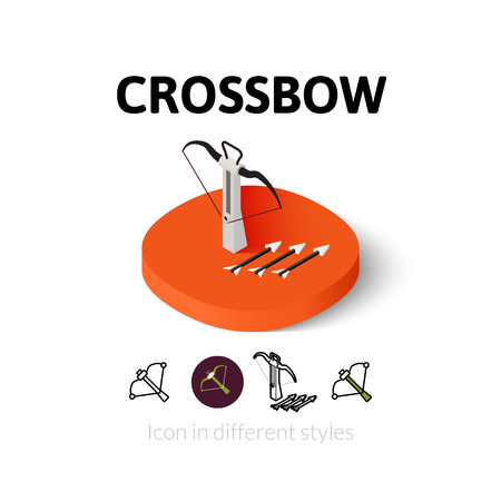 crossbow: Crossbow icon, vector symbol in flat, outline and isometric style Illustration