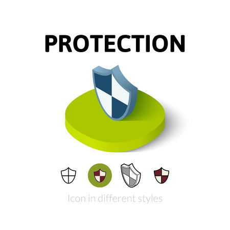 protección: icono de la protección, símbolo del vector en el plano, esquema y estilo isométrico Vectores