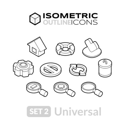 application recycle: Isometric outline icons, 3D pictograms vector set 2 - universal symbol collection