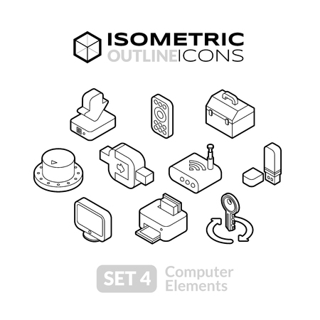 Isometric outline icons, 3D pictograms vector set 4 - computer symbol collection Ilustração