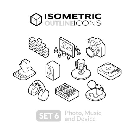 photo icon: Isometric outline icons, 3D pictograms vector set 6 - Photo music and device symbol collection