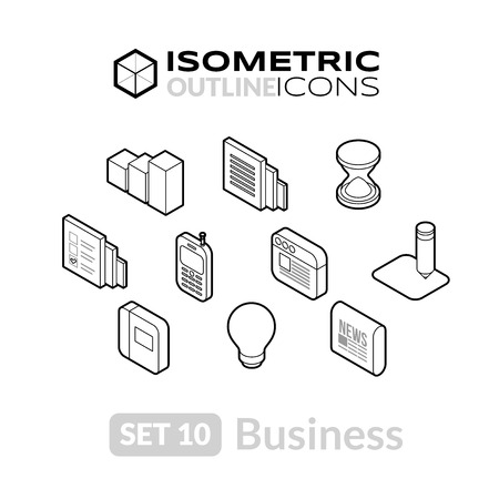 Isometric outline icons, 3D pictograms vector set 10 - Business symbol collection Vettoriali