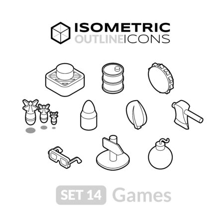 barrel bomb: Isometric outline icons, 3D pictograms vector set 14 - Games symbol collection Illustration