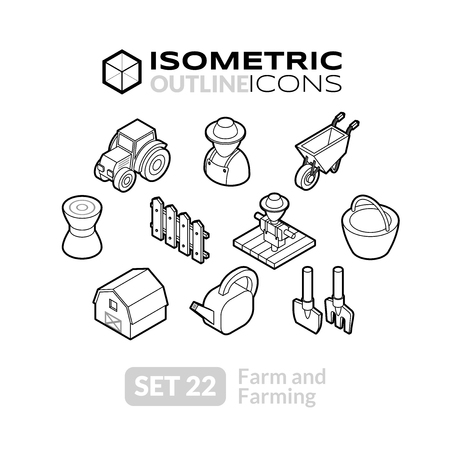 Isometric outline icons, 3D pictograms vector set 22 - Farm and farming symbol collection