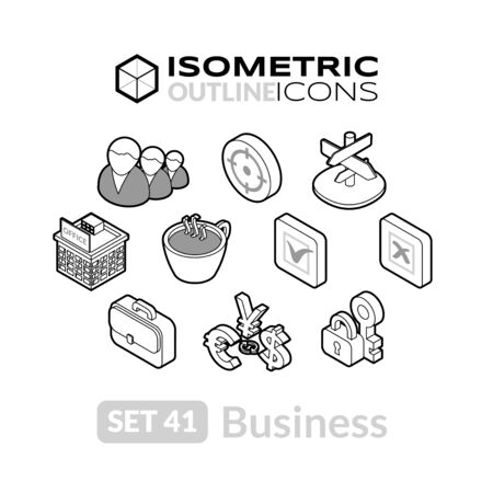 pictogram people: Isometric outline icons, 3D pictograms vector set 41 - Business symbol collection