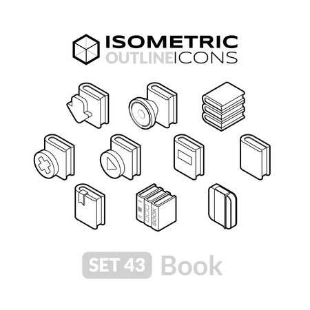reading app: Isometric outline icons, 3D pictograms vector set 43 - Book symbol collection