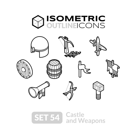 Isometric outline icons, 3D pictograms vector set 54 - Castle and weapons symbol collection Illustration