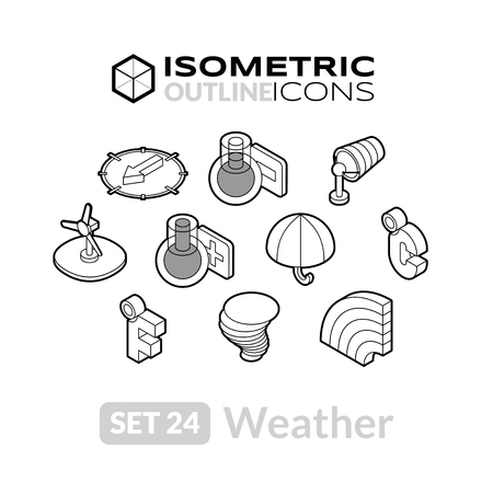 thaw: Isometric outline icons, 3D pictograms vector set 24 - Weather symbol collection Illustration