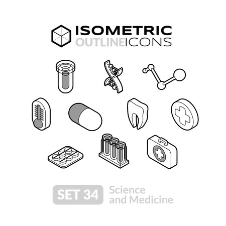 Isometric outline icons, 3D pictograms vector set 34 - Science and medicine symbol collection