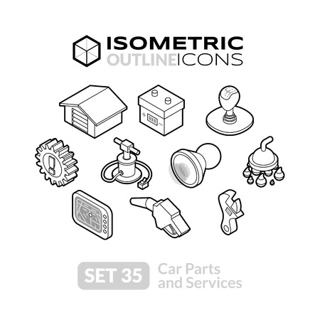 Car Transmission: Isometric outline icons, 3D pictograms vector set 35 - Car parts and services symbol collection Illustration