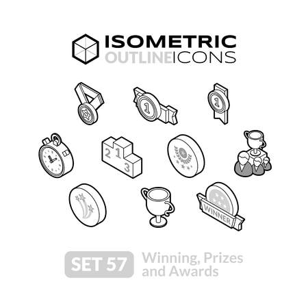57: Isometric outline icons, 3D pictograms vector set 57 - Winning, Prizes and awards symbol collection Illustration