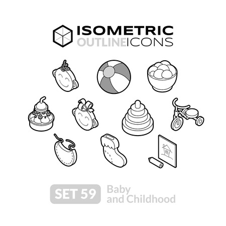 baby toys: Isometric outline icons, 3D pictograms vector set 59 - Baby and childhood symbol collection