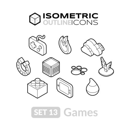 cooler boxes: Isometric outline icons, 3D pictograms vector set 13 - Games symbol collection