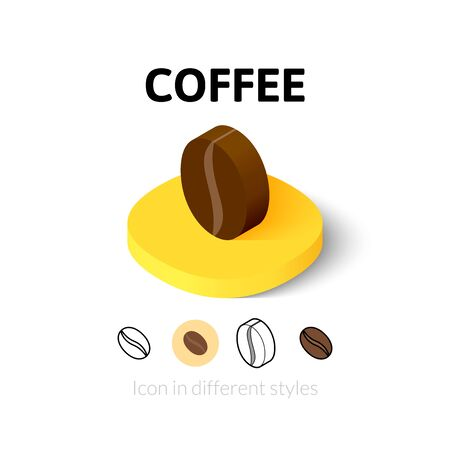 symbol icon: Coffee icon, vector symbol in flat, outline and isometric style