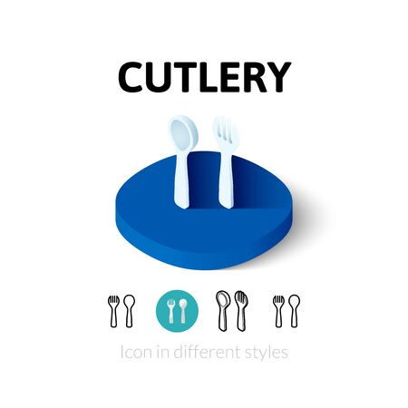 Cutlery icon, vector symbol in flat, outline and isometric style