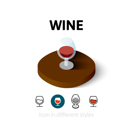 Wine icon, vector symbol in flat, outline and isometric style