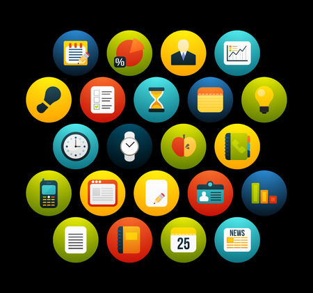 Flat icons vector set 8 - businnes collection, for phone watch or tablet, isolated on black background