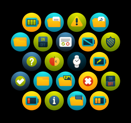 warning indicator: Flat icons vector set  - interface collection, for phone watch or tablet, isolated on black background