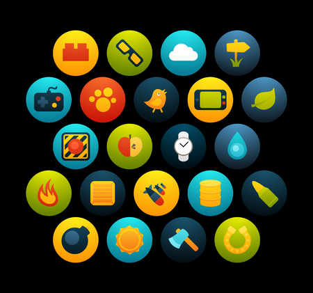 Flat icons vector set  - game collection, for phone watch or tablet, isolated on black background