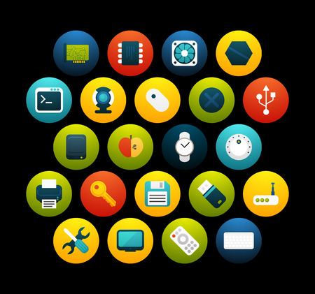 watch: Flat icons vector set - computer collection, for phone watch or tablet, isolated on black background