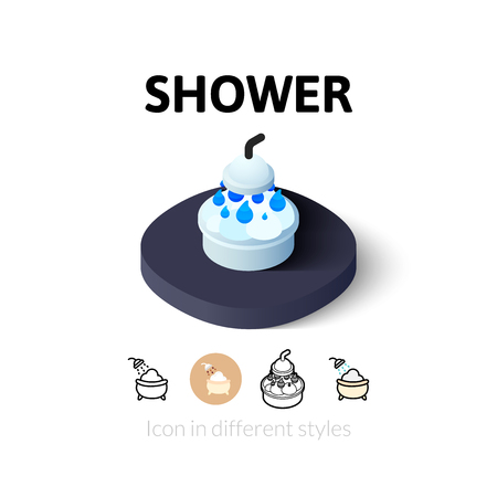 infant bathing: Shower icon, vector symbol in flat, outline and isometric style
