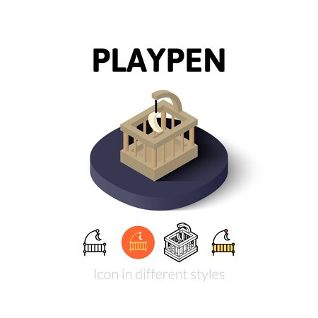 playpen: Playpen icon, vector symbol in flat, outline and isometric style Illustration