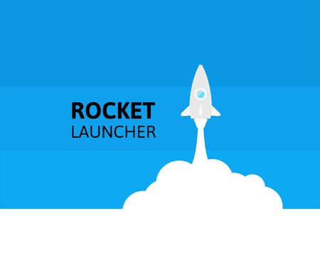 Bleu fusée et nuage blanc, icône dans un style plat, conceptuel de démarrage de nouveau projet d'entreprise, décollage d'une entreprise ou projet ou illustration vectorielle de voyage extraterrestre Vecteurs