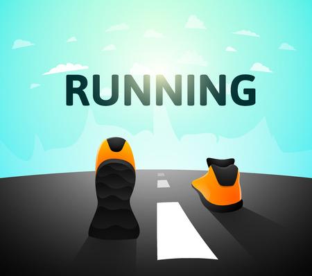 jog: Runner athlete shoes on road, jog workout wellness concept, vector illustration background
