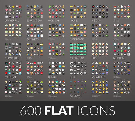 Large icons set, 600 vector pictogram of flat colored with shadows isolated on gray background