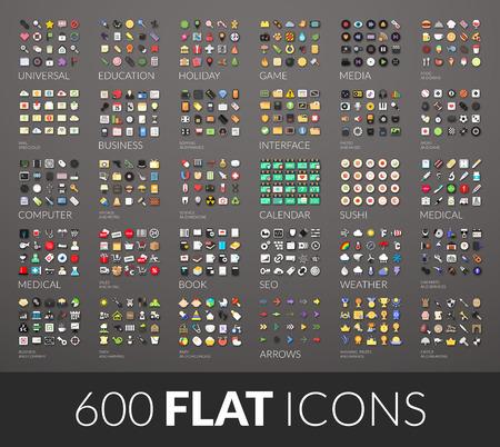 Grand ensemble d'icônes, 600 pictogrammes vectoriels de couleur plate avec des ombres isolés sur fond gris