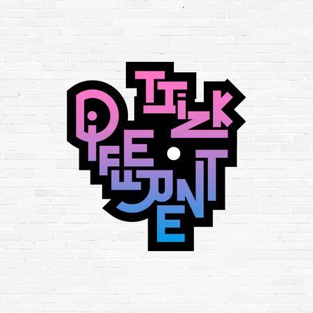 think different: Think different phrase, graffiti  sign, concept icon vector symbol Illustration