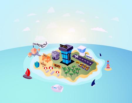 Woestijn tropisch eiland met palmboom, vakantie reizen op het strand in de buurt van het hotel of bungalow, inclusief taxi en museum, vector achtergrond illustratie