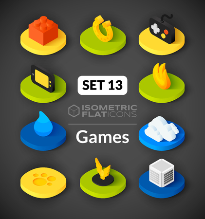 cooler boxes: Isometric flat icons, 3D pictograms vector set 13 - Games symbol collection Illustration