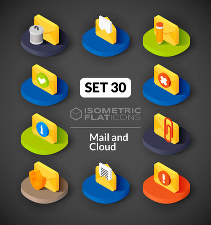 incoming: Isometric flat icons, 3D pictograms vector set 30 - Mail and cloud symbol collection Illustration