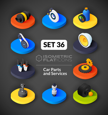 tailpipe: Isometric flat icons, 3D pictograms vector set 36 - Car parts and services symbol collection