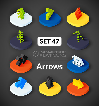 arrowhead: Isometric flat icons, 3D pictograms vector set 47 - Arrows symbol collection