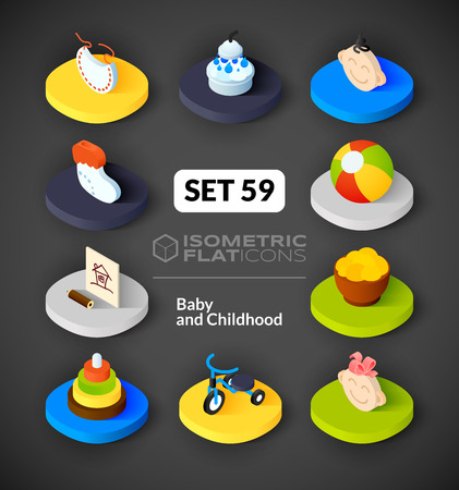 bootees: Isometric flat icons, 3D pictograms vector set 59 - Baby and childhood symbol collection