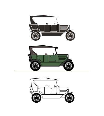 cabriolet: Retro cabriolet car vintage collection, classic garage sign, vector illustration background, can be used for design card infographics