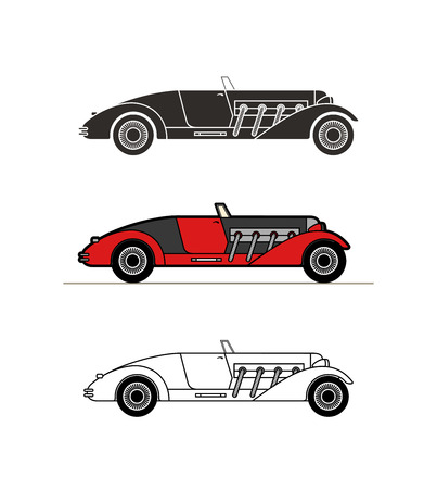 cabriolet: Retro cabriolet sport car vintage collection, classic garage sign, vector illustration background, can be used for design, infographics