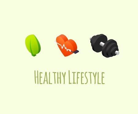 cardio fitness: Healthy lifestyle icons - cardio fitness, fresh eating and strenght exercises vector illustration Illustration
