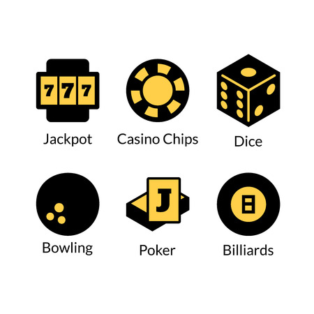 games of chance: Gambling icons set, games of chance logo, vector illustration in cartoon style Illustration