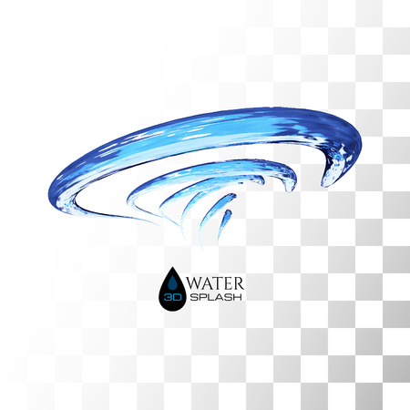 trickle: Blue 3D water splash isolated on white, vector background