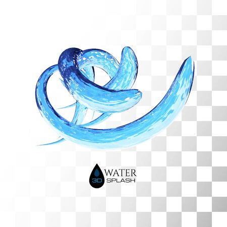 Blue 3D water splash isolated on white, vector background