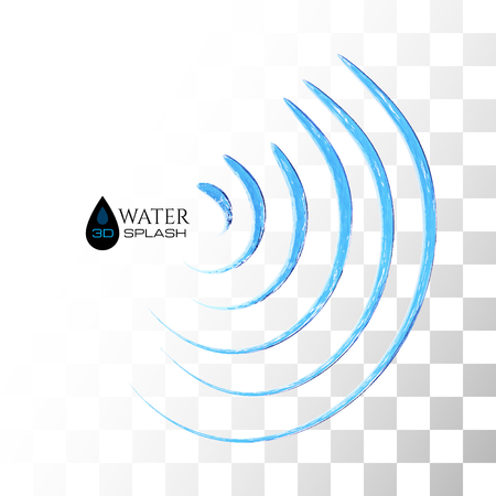 to trickle: Blue 3D water splash isolated on white, vector background