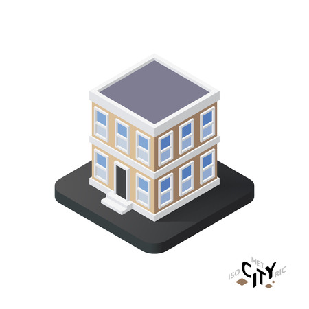 townhouse: Isometric townhouse flat icon isolated on white background, building city infographic element, digital low poly graphic, vector illustration
