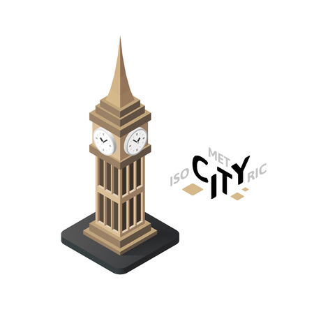 Isometric big ben flat icon isolated on white background, building city infographic element, digital low poly graphic, vector illustration