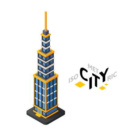 Isometric urban tower flat icon isolated on white background, building city infographic element, digital low poly graphic, vector illustration