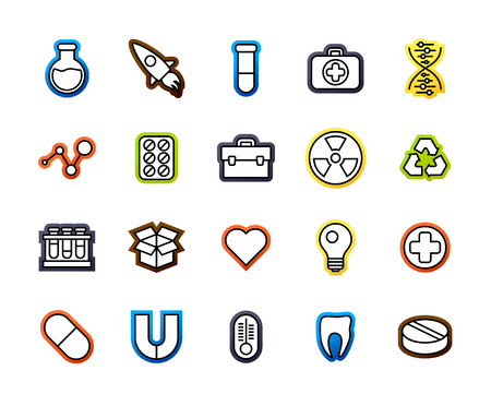 assays: Outline icons thin flat design, modern line stroke style, web and mobile design element, objects and vector illustration icons set15 - science and medicine collection
